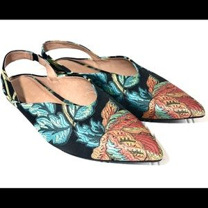 Tropical floral sling back mules flats 7